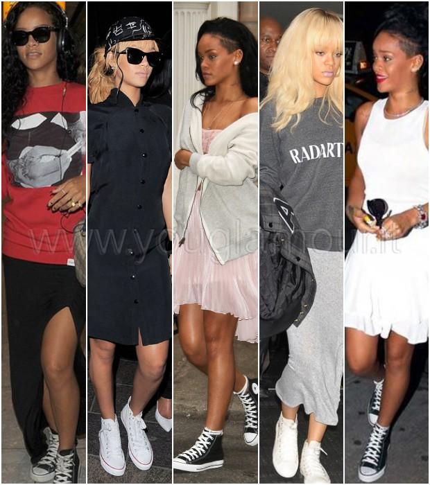 Il nuovo trend delle star: le sneakers con la gonna, copia il look di Rihanna