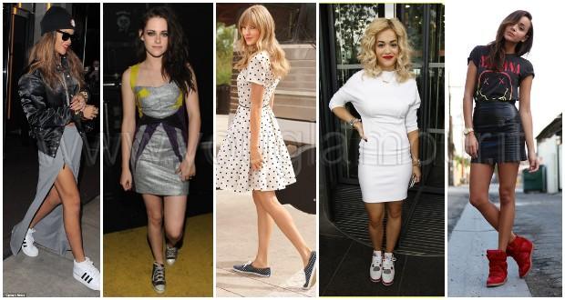 Il nuovo trend delle star: le sneakers con la gonna!